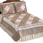 Clara Reversible Floral Patchwork Quilt, Diamond Patches with Quilted Stitching image