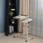 Rolling Computer PC End Table Bedside Adjustable 3-Tier Shelf Tray Drawing Desk