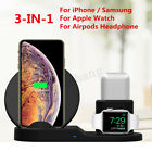3in1 Qi Wireless Fast Phone Charger Dock Stand For Apple Watch Airpods iPhone X