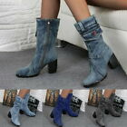Women's Lady Fashion Boots Denim Round Toe Cowboy Style High Heels Casual Shoes