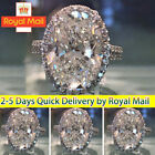 Women Silver Sapphire Ring Rhinestone Wedding Costume Jewelry Round Zircon Rings