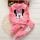 2PCS Kids Baby Girls Minnie Mouse Tracksuit Jumper Pants Tops Clothes Outfit Set