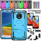 For Motorola Moto E4 / E4 Plus Shockproof Armor Case Cover With Screen Protector