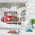 Cute Dogs In Christmas Red Retro Car Winter Snow Shower Curtain Hooks Bath Mat