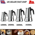 Stainless Steel Espresso Coffee Maker Stove Top Percolator 4 Cup Latte Moka Pot