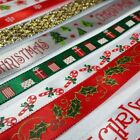 Nice Quality Satin & Wired Christmas Ribbon 9 to 63mm Wide Ideal for Crafts