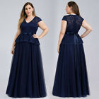 Ever-Pretty Cap Sleeve Floral Lace Wedding Guest Party Evening Prom Dress Gowns