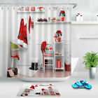 Santa Costume Hanging In White Room Xmas Shower Curtain Hook Fabric Bathroom Mat