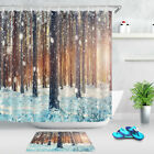 Winter Jungle Forest Wood Tree In Snow Fabric Shower Curtain Hooks Bathroom Mat