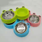 Stainless Steel Dog Puppy Bowl Non Slip Food Water Bowl Double Feeding Dish DP
