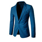 Men's Suit Coat Casual Slim Formal One Button Blazer Jacket Tops Solid Casual