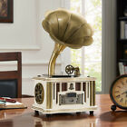 Bluetooth Vintage Gramophone Record Player Turntable Built-in USB Speakers E7B0