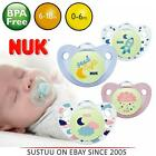 NUK Night & Day Silicone Dummy Pacifier Soothers Pink/Blue 0-6m/6-18m