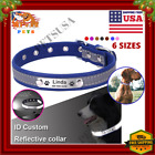 Personalized Reflective Dog Collar Leather Name ID Collar  Nameplate Engraved