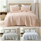 3-Piece Wavy Stitch Embroidery Stone Washed Soft Microfiber Bedspread Quilt Set image