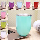 10oz Wine Glasses Double Walled Tumbler Cup with Straws Lid Vacuum Insulated Mug