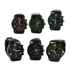 Men Quartz Analog Silicone Band Stainless Steel Round Sports Wrist Watch Casual  image