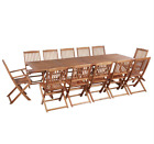 Large Garden Dining Set Rustic Table Chairs 10 12 Seater Wooden Patio Furniture