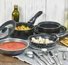 3 Pcs Black Ceramic Induction Cookware Sets Stackable Detachable Handle Pots Pan