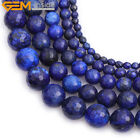 "Round Faceted Blue Lapiz Lazuli Stone Loose Beads For Jewelry Making 15"" Dyed"