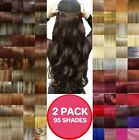 2 PACKS - Hair Extensions Half Head 1 Piece Curly Straight feel real Blonde Grey