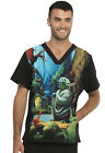 Yoda Cherokee Scrubs Tooniforms Star Wars Mens V Neck Top TF708 SRJM $24.99 USD on eBay