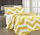 Chezmoi Collection Reversible Chevron Zig Zag Microfiber Quilted Coverlet Set