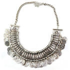 Cg_ Boho Women Pendant Statement Bib Charm Choker Necklace Antique Coin Jewelry