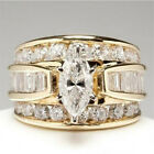 Women Cubic Zirconia Inlaid Wedding Engagement Finger Ring Jewelry Gift Novelty