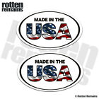 Made in the USA Oval Decal Sticker SET United States American Flag EMV