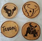 PYROGRAPHY, WOOD BURNING SET OF 4, TEXAS SPORT THEME COASTERS, 3 TO CHOOSE FROM $14.99 USD on eBay