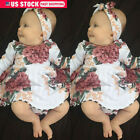 US Newborn Baby Girl Long Sleeve Floral Dress Headband 2PCS Outfits Kids Clothes