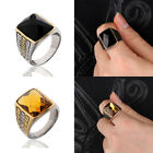 Mens Black/yellow Gemstone Celtic Band Silver Stainless Steel Motorcycle Rings
