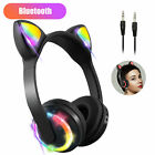 For kids Cat Ear Bluetooth Headphones Audio Wireless LED Mic Stereo headset