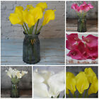 9 Heads Artificial Flowers Calla Lily Bouquet With Vase Wedding Party Home Decor
