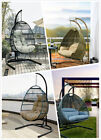 Hanging Egg Chair Outdoor Porch Garden Swing Cushion Rattan Seat Steel Stand 1-2