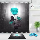 Blue Rose In The Woods At Night Butterfly Fabric Shower Curtain  Bathroom Decor