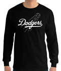 Los Angeles Dodgers black long sleeve T-Shirt white Logo Cotton Adult S-2XL LA