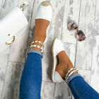 Womens Studded Ankle Strap Espadrilles Sandals Ladies Summer Flat Heel Shoes 3-8
