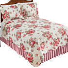 Antique Pink Roses Pattern Garden Quilt with Scalloped Edges image