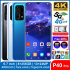6.7'' P40 Pro Full Hd Screen 8+256g Android 10.0 Smartphone 5g Mobile Phone