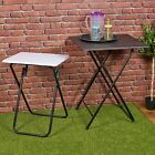 Folding Side Table Patio Indoor Outdoor Furniture Coffee Drink Summer Metal Legs
