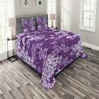 Flower Bedspread Set, Lilac Flowers Blossoms In Spring Romantic Stylish Meadow H image