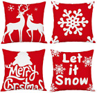 YOOQI Christmas Pillow Covers 18x18, Red Cotton Linen Pillow Covers with Christm