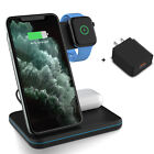 For iPhone 11 XR 8 3 in 1 Qi Wireless Charger Fast Charging Dock Stand / Adapter