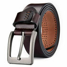 100 Genuine Leather Mens Belts Square Buckle Trouser Sizes Black Jeans US Stock