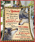 To My Husband - Wedding Anniversary - WOLF - God Blessed The Fleece Blanket