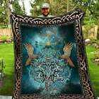 Viking Compass, Yggdrasil, Raven, Ordin and Wolf v1 - Super Soft & Light Blanket