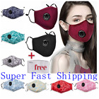 100% Cotton Cloth Face Mask Air Valve Reusable Breathable Covering with 1 Filter