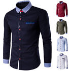 Men's Long Sleeve Formal Shirts Casual Slim Fit Business Dress Shirts Tees Tops